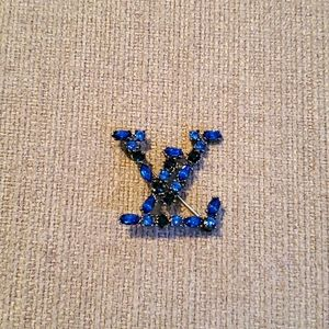 Louis Vuitton vintage blue rhinestones brooch